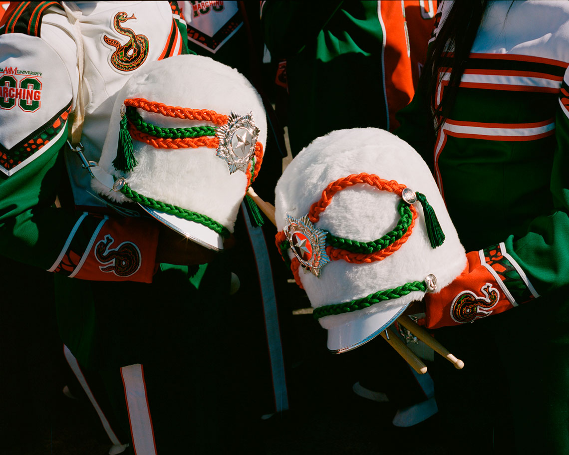Marching band hats that held by students from Florida A&M, Tallahassee, FL. Taken in Los Angeles, CA before the Rose Bowl Parade.